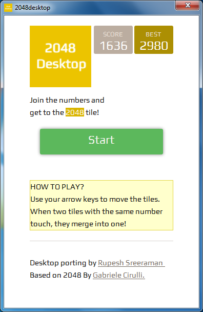 Download web tool or web app 2048desktop to run in Windows online over Linux online