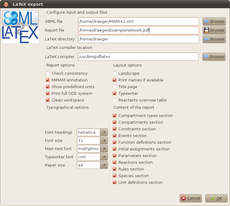 Download web tool or web app SBML2LaTeX to run in Windows online over Linux online