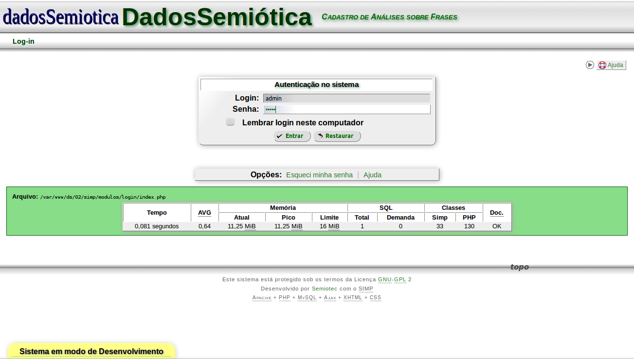 Download web tool or web app dadosSemiotica to run in Windows online over Linux online