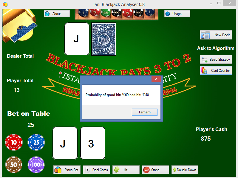 Download web tool or web app Jani Blackjack Analyser to run in Windows online over Linux online