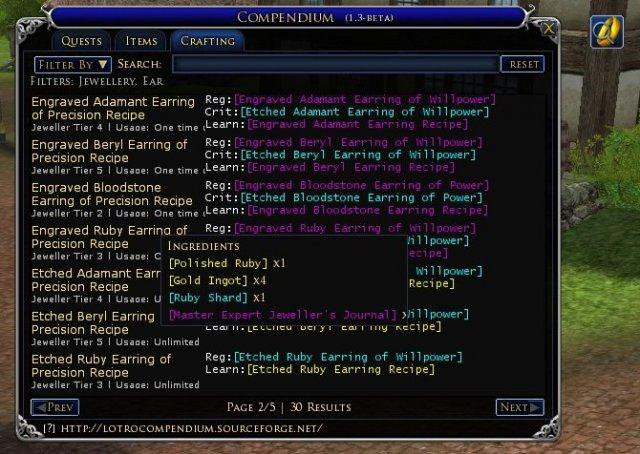 Download web tool or web app LOTRO Compendium to run in Linux online