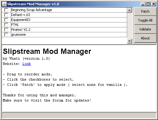Download web tool or web app Slipstream Mod Manager to run in Windows online over Linux online