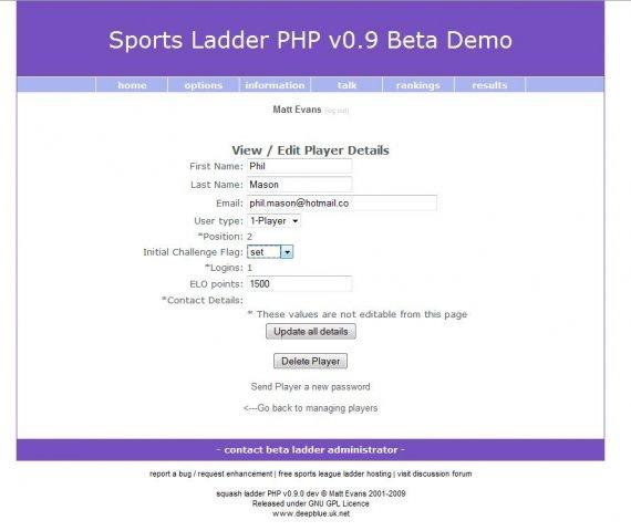 Download web tool or web app squash ladder PHP to run in Linux online