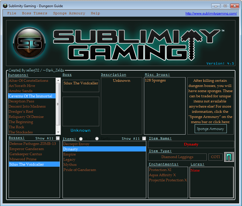 Download web tool or web app Sublimity Gaming Dungeon Guide to run in Linux online